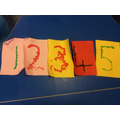 We used bingo dabbers to make our numberline!