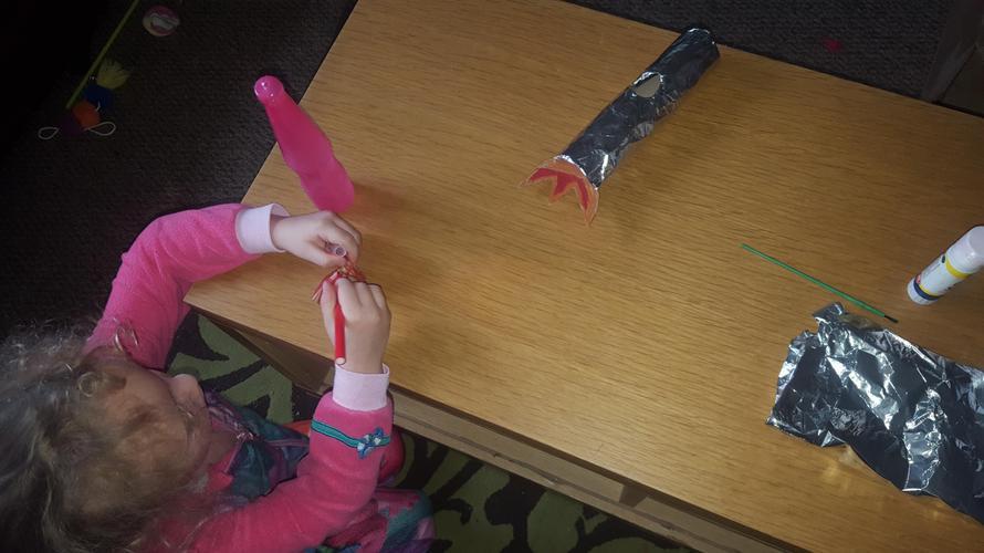 Creating her rocket!