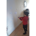 Using a nerf gun to practise counting in 2's!