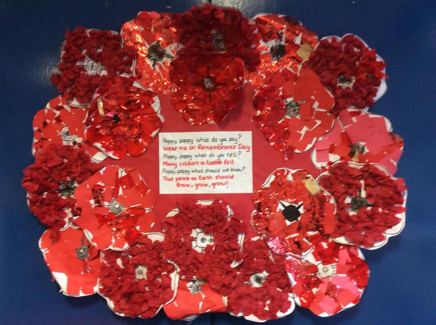 The children made a beautiful Poppy Wreath