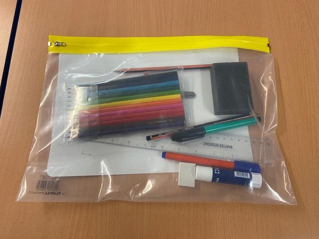 In September you will all get an individual pack with pencils, pens and all your equipment