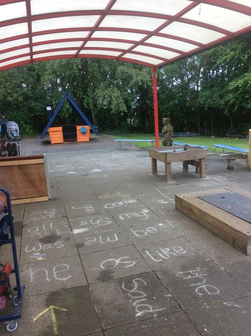 We have a sand pit, water tray, a trim trail and hut!