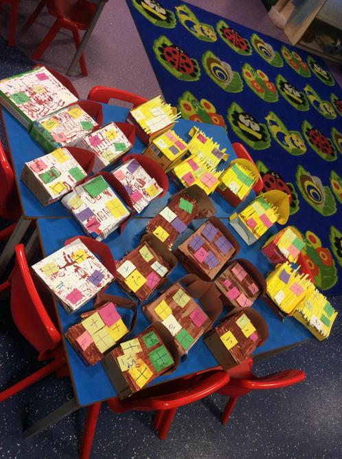 We made straw, stick and brick houses from the story, 'The 3 little Pigs'