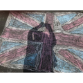 Toby's art work using chalk and shadows