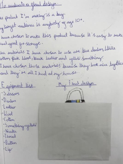 Diarnae's evaluation of her DT design.