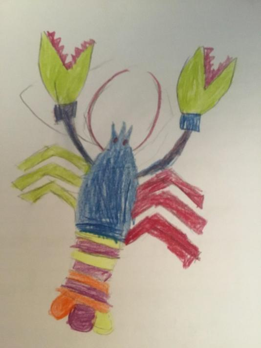 Satrina's creature based on our work in shared reading.
