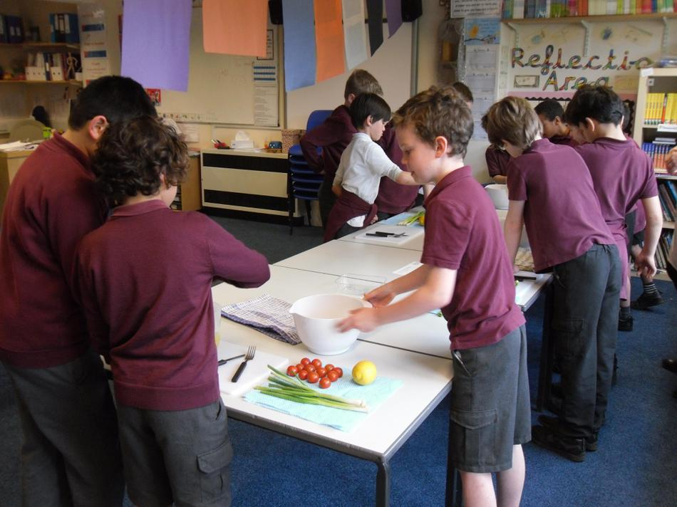 Group 1 making their cous cous salad