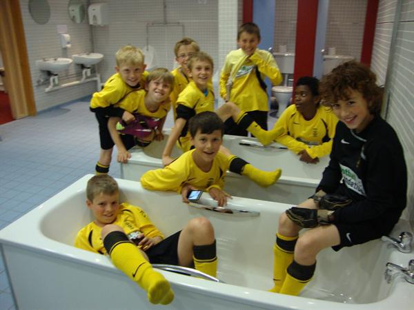 Football Team in the Bath at Villa Park
