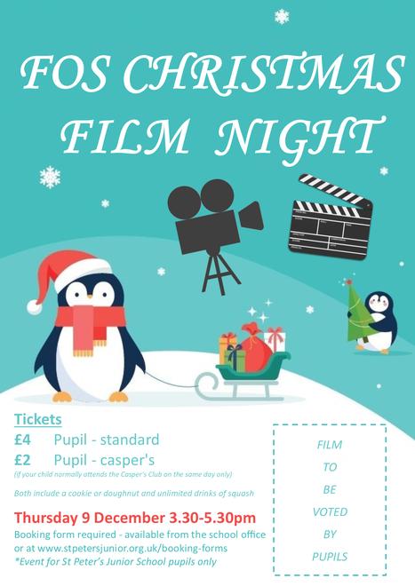 Christmas Film Night - Thu 9 Dec 3.30pm-5.30pm