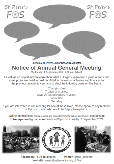 AGM - Wed 8 Sept 6.30pm-6.50pm