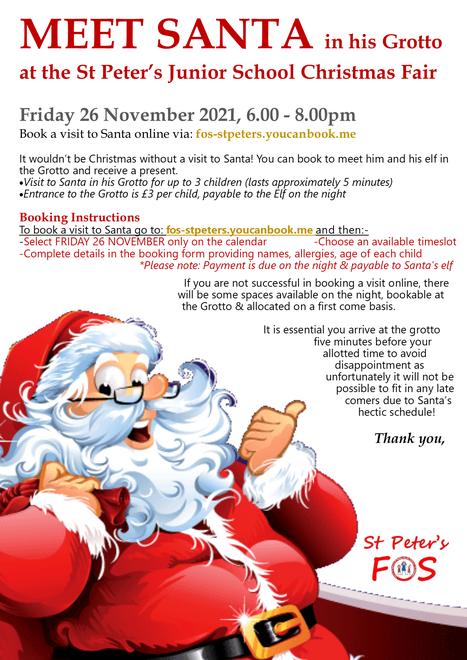 Santa's Grotto @ the Christmas Fair - Fri 26 Nov 6.10pm-8.00pm