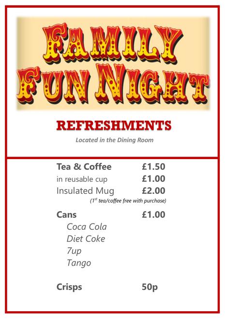 Refreshment prices
