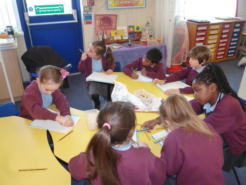 Writing instructions on how to make porridge.