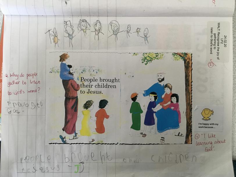 The children gathered to Jesus