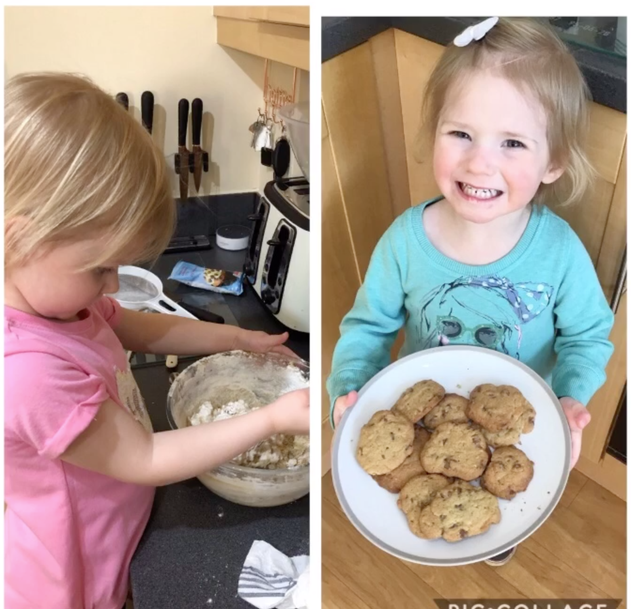 I have made choc-chip cookies with Mummy!