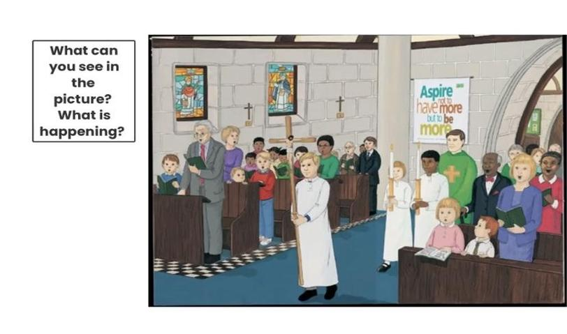 We talked about what we could see in the picture as we celebrate together in Church.