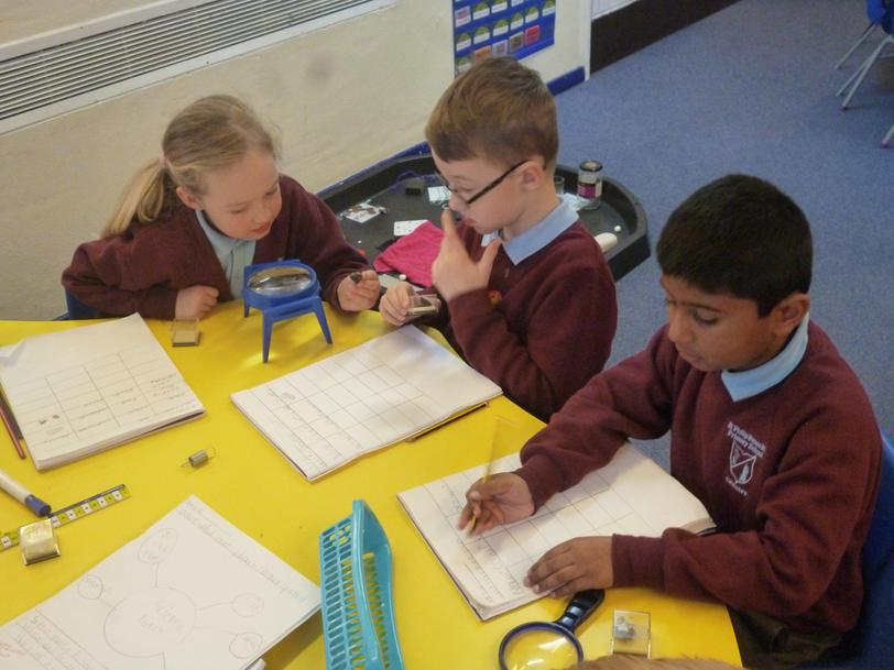 We are using our science skills to investigate.