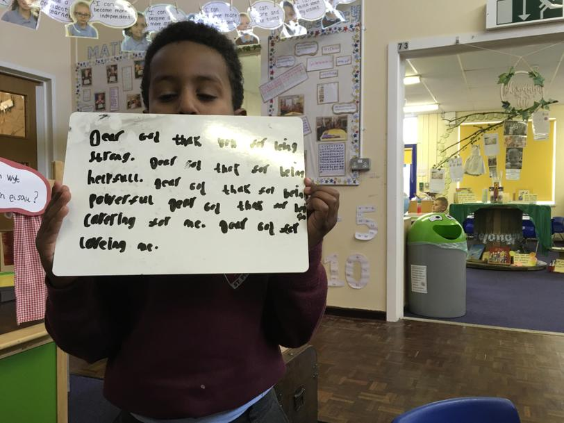 Independent prayer writing on My Time RE challenge