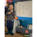 I'm writing 'm', 'a', 's', and 't'!