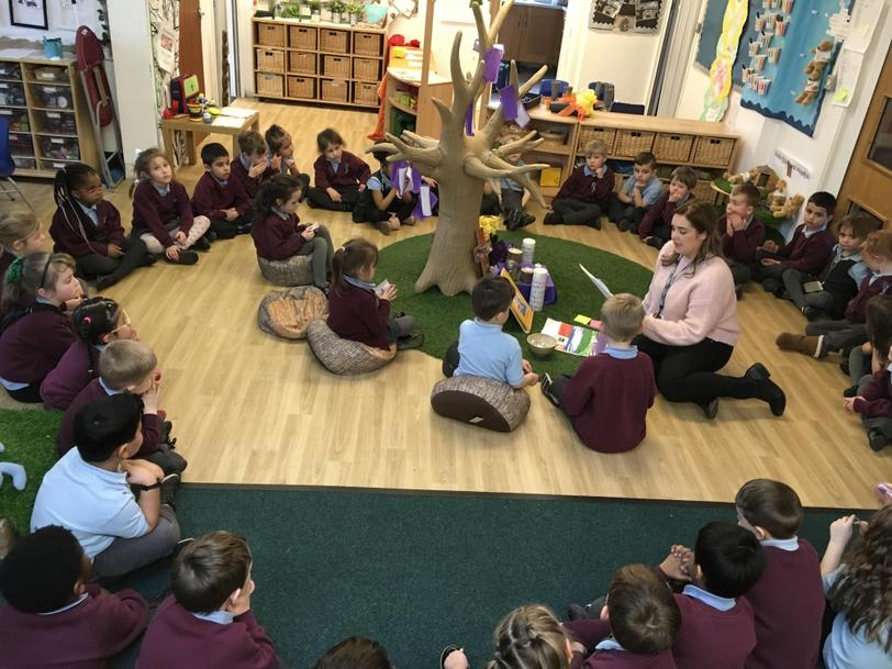 We gather for our 'Gweddiwn' at the school altar