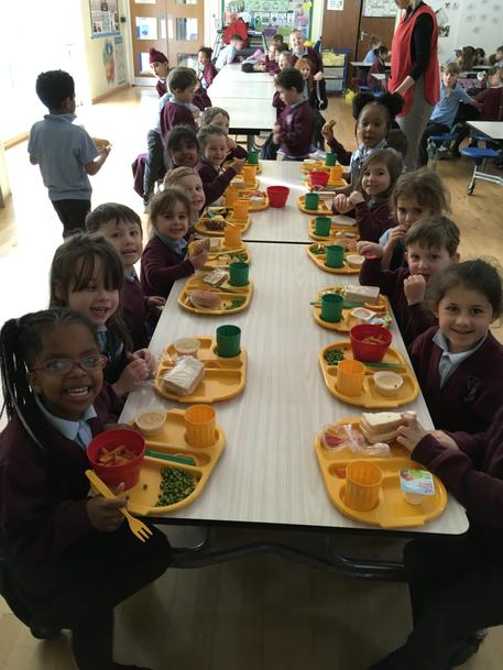 Gathering to eat our lunch at school