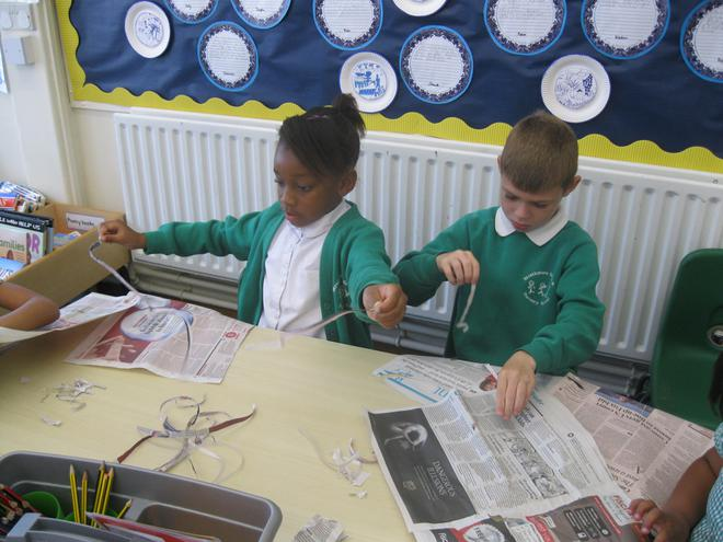 Monday - we began ripping newspaper and magazines