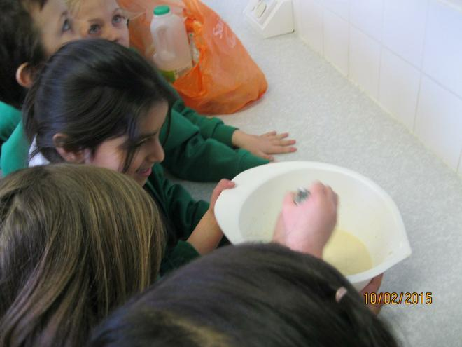 We weighed and mixed the ingredients
