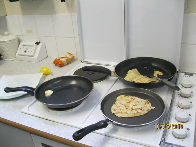 We had a go at tossing the pancakes!