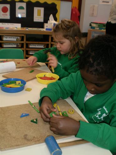 Using shapes to make pictures.