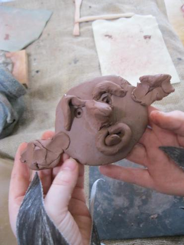 Clay gargoyles to protect the castle.