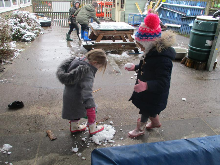 We investigated the snow and ice.