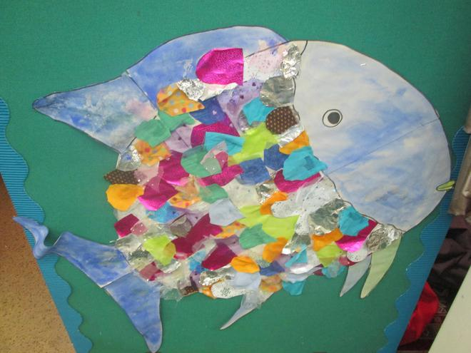 The children enjoyed making a collage fish.