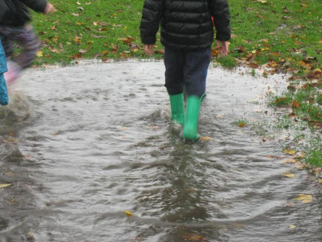 "Isabelle said ""Our wellies were full of water!"""