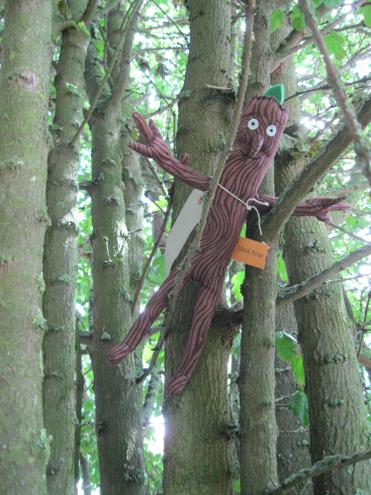 We found Stickman hiding high up in a tree.