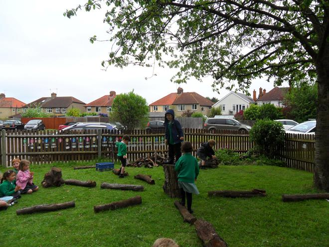 Children love the challenge of the rolling logs