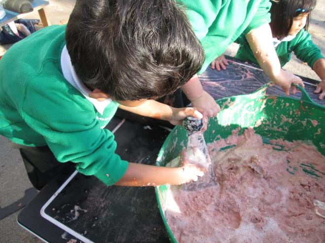 We made a swamp for crocodiles by grating soap,
