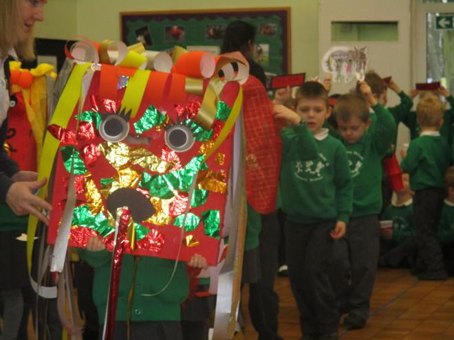 Our dragon dance in assembly.
