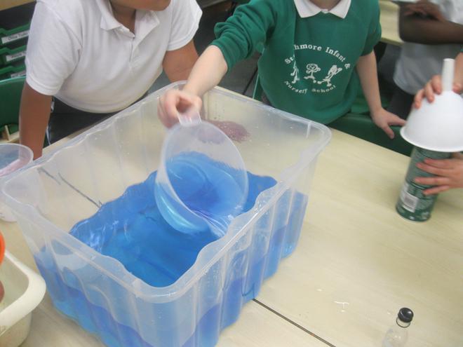 We measured water using measuring jugs.