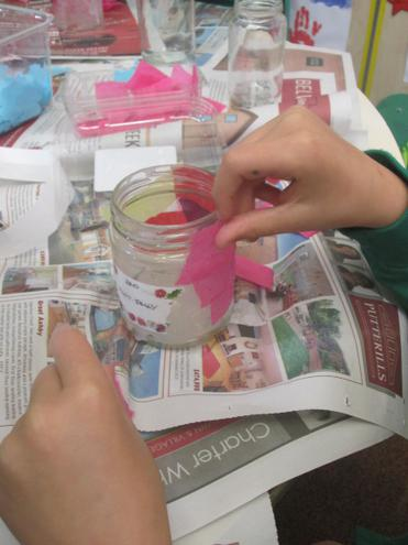 Then we added coloured tissue paper.