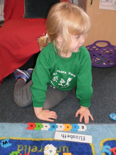 Finding the letters for our names.
