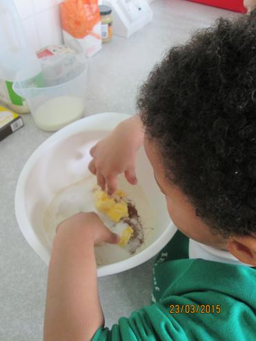 First we used our fingers to mix the ingredients