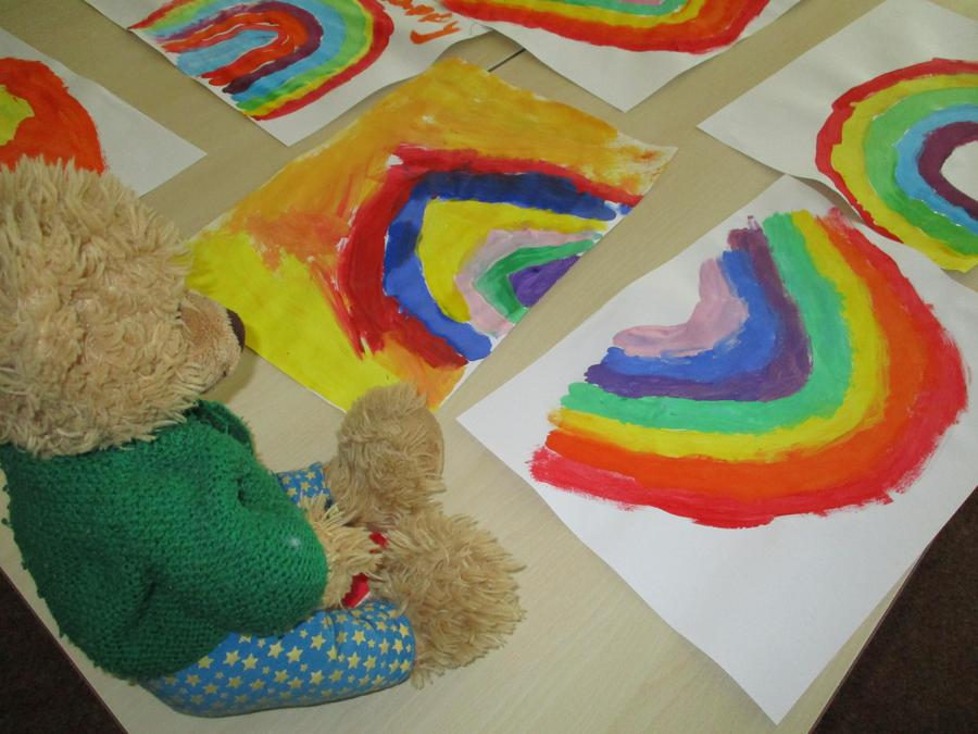 """""""I painted lots of rainbows to make people smile."""""""