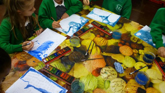 """We looked at Van Gogh's 'Starry Night"""" painting."""
