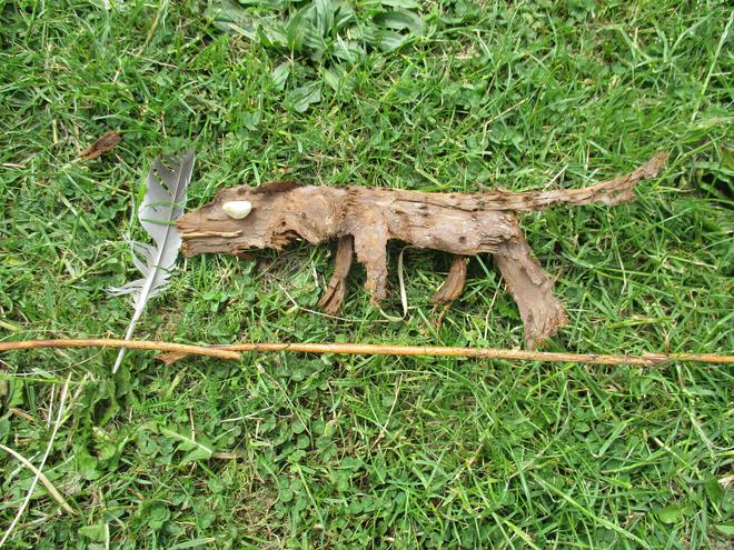 Then we used natural materials to make animals.