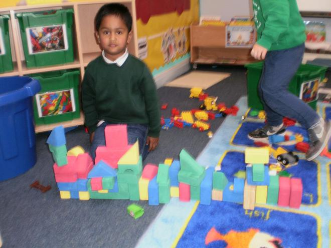 Building castles with blocks.