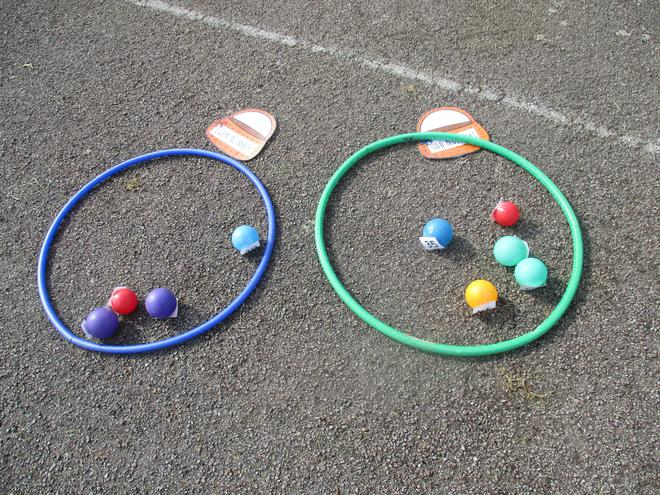 We sorted the balls into odd and even numbers.