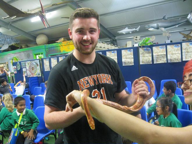 Even Mr Holbrook held the snake