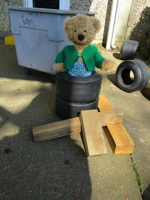 Ash Bear decided to climb into some tyres. Luckily