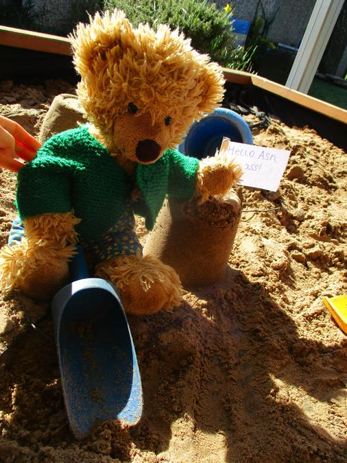 he didn't get stuck. Then he made a sandcastle.