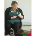 The veterinary nurse visited with her friends